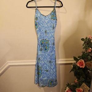 EUC Vtge.90's Betsey Johnson Blue Rose Slip Dress